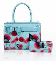 Poppy Flower & Butterfly Pattern  Top Handle Bag with or without  Matching Purse